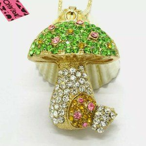 Betsey Johnson Green Bling Mushroom Necklace